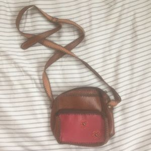 Mini leather purse with floral detail